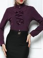 Elegant Buttoned Ruffled Long Sleeve Sheath Work Top