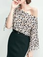 Horizontal Neck Bell Sleeve Leopard Print Statement Top