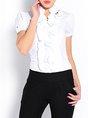 Short Sleeve Stand Collar Ruffled Work Top
