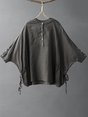 Summer Solid Casual Stand Collar Buttoned Batwing Linen Top