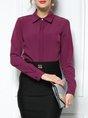 Solid Sheath Long Sleeve Shirt Collar Work Top