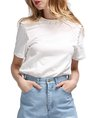 Summer Beaded Short Sleeve Crew Neck Cropped Top