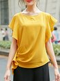 Frill Sleeve Shift Casual Summer Cropped Top