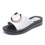 Genuine Leather Open Toe Summer Slippers