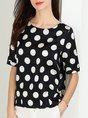 Summer Polka Dots Printed Shift Short Sleeve Daily Casual Top