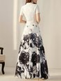 White Elegant A-Line Date Vintage Printed/dyed Maxi Dress