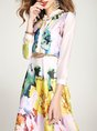 White Stand Collar Elegant Floral A-Line Party Midi Dress