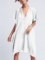 Women's  Casual V Neck  Solid Short Sleeve Shirt & Dress