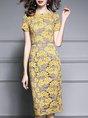 Yellow Elegant Short Sleeve Guipure Lace Date Leaf Midi Dress