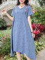 V Neck Floral Embroidered A-Line Daily Casual Paneled Midi Linen Dress