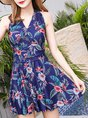 Summer Sleeveless V Neck Floral Printed Gathered One-Piece Swimwear