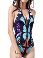 Black Animal Printed Sexy Push Up V Neck One-Piece Swimwear
