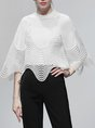 Black-White Elegant Sheath Solid Stand Collar  Top With Pants