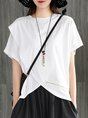 Summer Short Sleeve Crew Neck Solid High Low Top