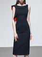 Elegant Ruffled Sheath Solid Midi Dress