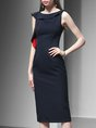Navy Blue Crew Neck Elegant Ruffled Sheath Solid Midi Dress