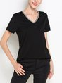 Black Casual Short Sleeve Solid V Neck T-Shirt