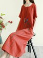 Summer A-Line Daily Casual Paneled Leaf Maxi Linen Dress