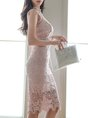 Stand Collar Pink Bodycon Date Guipure Lace Graphic Midi Dress