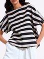 Striped Short Sleeve Crew Neck Casual Summer T-Shirt