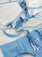 Summer Beach Denim Blue Solid Statement Ruffled Bikini Swimwear