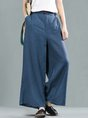 Summer Solid Long Sleeve Buttoned Wide Leg Linen Pants