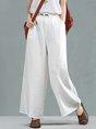 Summer Solid Long Sleeve Buttoned Wide Leg Linen Pants