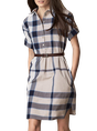 Shirt Collar Sheath Checkered/plaid Daily Midi Dress