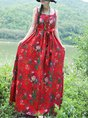 Summer A-Line Daily Casual Holiday Floral-Print Maxi Dress