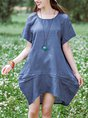 Summer Solid Cocoon Daily Pockets Paneled Midi Linen Dress