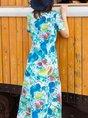 Stand Collar Blue Summer A-Line Daily Floral-Print Maxi Dress
