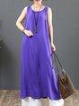 Summer Solid Sleeveless Paneled Shift Daily Maxi Linen Dress