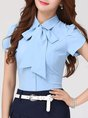 Short Sleeve Solid Bow Buttoned Tie-Neck Sheath Work Top