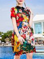 Shirt Collar Multicolor Summer A-Line Holiday Casual Mini Dress