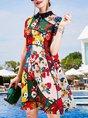 Shirt Collar Multicolor Summer A-Line Holiday Casual Mini Dress