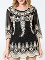 Crew Neck 3/4 Sleeve Tribal Casual Guipure Lace Shift Tunic