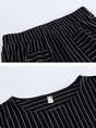 Black Striped Crew Neck Casual Pockets Top With Pants Two-Piece Set