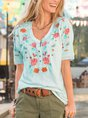 Casual Floral-Print Short Sleeve Shirt