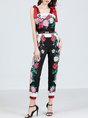 Red Printed Floral Elegant Spaghetti Overall