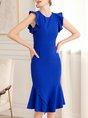Royal Blue Summer Mermaid Date Paneled Elegant Midi Dress