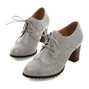 Vintage Chunky Heel Round Toe Lace-Up Boots