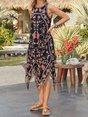 Round Neck Sleeveless Floral Cotton-Blend Dresses