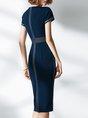 Short Sleeve Work Bodycon Slit Elegant Midi Dress