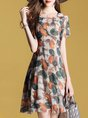 Crew Neck Short Sleeve Abstract Printed Casual A-Line Midi Dress