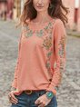 Round Neck Floral Casual Top