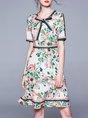 Tie-Neck White Summer A-Line Daily Elegant Midi Dress