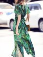 Summer Green Paneled Casual Frill Sleeve Bow Casual Set