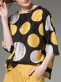 Abstract Polka Dots Printed Casual Crew Neck Half Sleeve Top