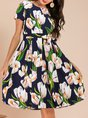 Summer Crew Neck A-Line Floral Printed Folds Going Out Casual Midi Dress