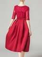 Red Wedding A-Line Party Evening Half Sleeve Elegant Midi Dress
